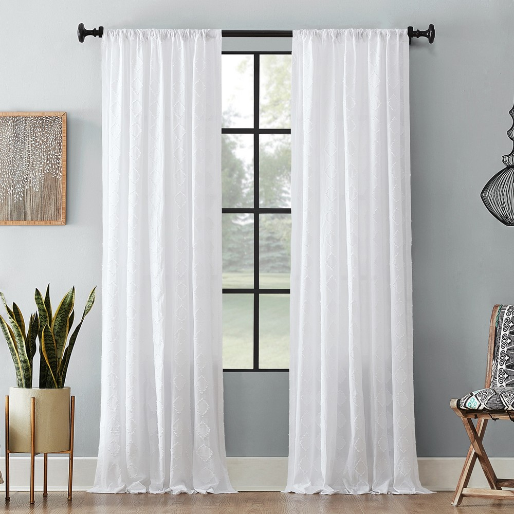 "95""x50"" Diamond Fray Cotton Curtain White - Archaeo from Archaeo"