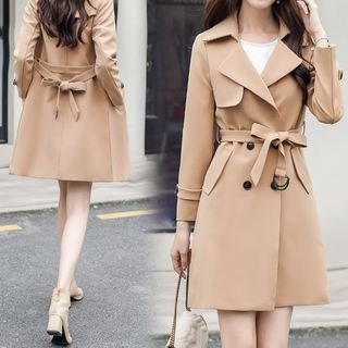 Double-Breasted Sashed Trench Coat from Ariadne