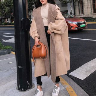 Hooded Toggle Long Coat from Ariadne