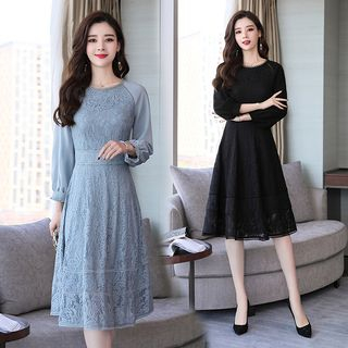 Lace Long-Sleeve A-Line Dress from Ariadne
