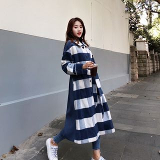 Long Gingham Panel Buttoned Coat from Ariadne