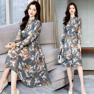 Long-Sleeve Floral Print Chiffon Dress from Ariadne