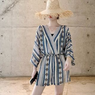 Long-Sleeve Patterned Playsuit from Ariadne