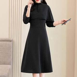 Long-Sleeve Striped A-Line Dress from Ariadne