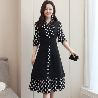 Mock Two-Piece Long-Sleeve Dotted Panel A-Line Dress from Ariadne