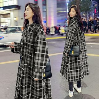 Plaid Double-Breasted Midi Coat from Ariadne