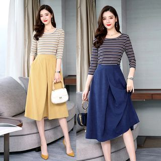 Set: 3/4-Sleeve Striped Knit Top + Midi A-Line Skirt from Ariadne
