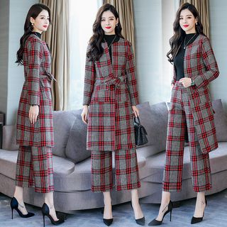 Set: Round Neck Plaid Coat + Wide-Leg Pants from Ariadne