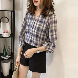 3/4-Sleeve Plaid Buttoned Top from Arroba