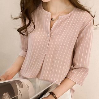 3/ 4-Sleeve Striped Tunic Blouse from Arroba