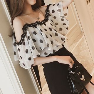 Dotted Cold-Shoulder Chiffon Top from Arroba