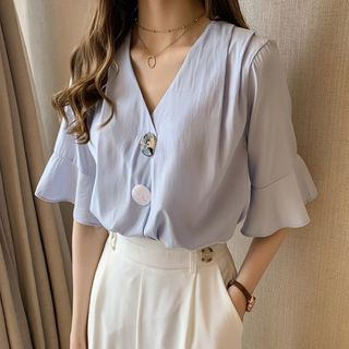 Elbow-Sleeve Buttoned Blouse from Arroba