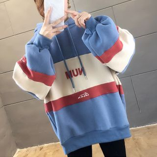 Lettering Color-Panel Oversized Hoodie from Arroba