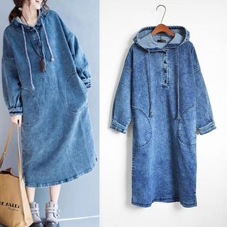Long-Sleeve Hooded Denim Shift Dress Blue - One Size from Arroba