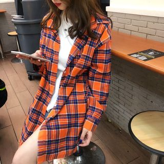 Long-Sleeve Plaid Shirt As Shown In Figure - One Size from Arroba