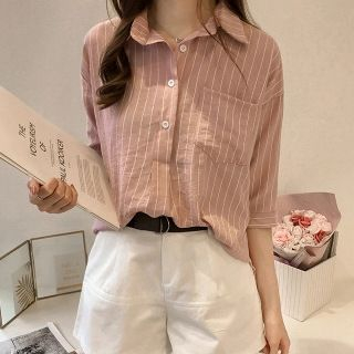 Pinstriped Elbow-Sleeve Shirt from Arroba