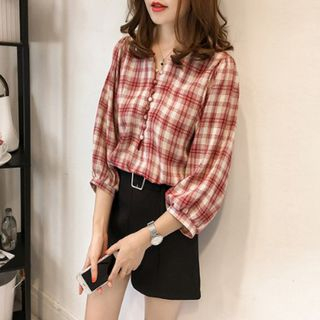 Plaid 3/4-Sleeve Blouse from Arroba