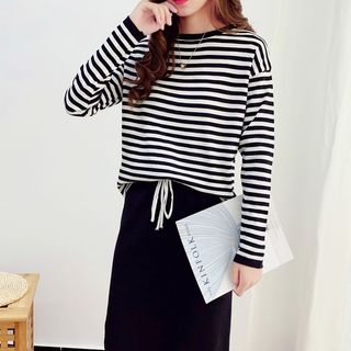 Set: Long-Sleeve Striped Knit Top + Midi Fitted Skirt from Arroba