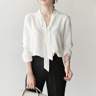Tie Neck 3/4-Sleeve Blouse from Arroba
