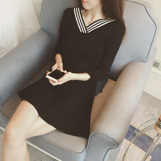 V-Neck Long-Sleeve Knitted A-Line Dress from Arroba