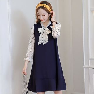 3/4-Sleeve Dotted Panel Dress from Ashlee