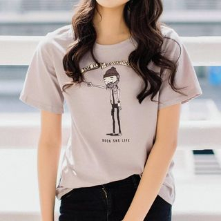 Cartoon Print Short-Sleeve T-Shirt from Ashlee