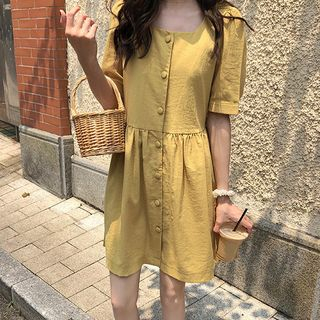 Elbow-Sleeve Buttoned A-Line Dress Light Yellow - One Size from Ashlee
