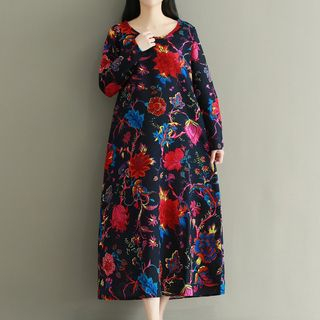 Floral Print Long-Sleeve Dress from Ashlee