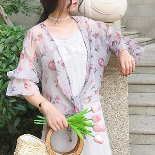 Floral Print Open-Front Chiffon Thin Jacket from Ashlee