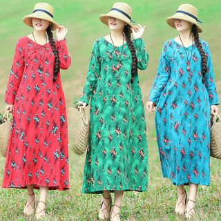 Long-Sleeve All Over Pattern Midi Dress from Ashlee
