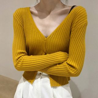 Long-Sleeve Buttoned Knit Top from Ashlee