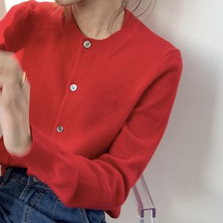 Long-Sleeve Buttoned Knit Top Red - One Size from Ashlee