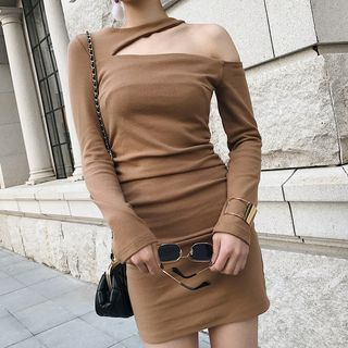 Long-Sleeve Cutout Mini Sheath Dress from Ashlee