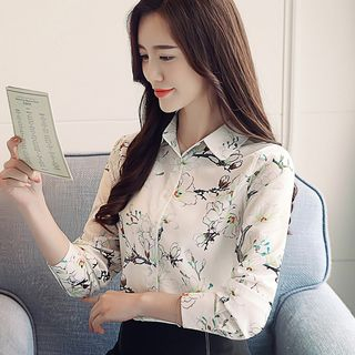 Long-Sleeve Floral Chiffon Blouse from Ashlee