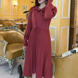 Long-Sleeve Knit A-Line Midi Dress Red - One Size from Ashlee