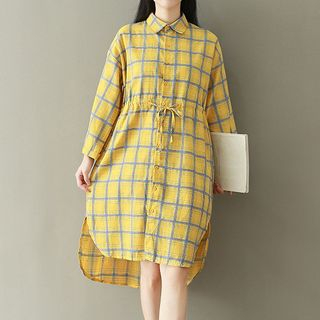 Plaid Collared Long Sleeve Dress from Ashlee