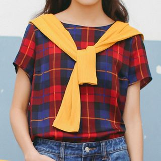 Plaid Short-Sleeve Top from Ashlee