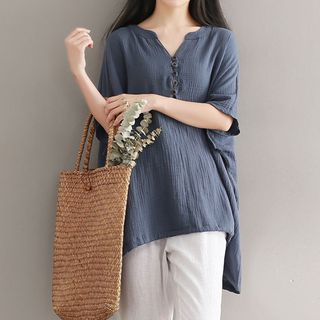 Plain Elbow Sleeve Linen Blend T-Shirt from Ashlee