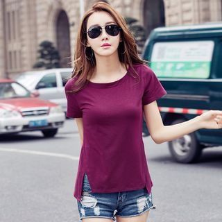 Plain Slit Short-Sleeve T-shirt from Ashlee