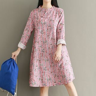 Print Long-Sleeve Corduroy Dress from Ashlee