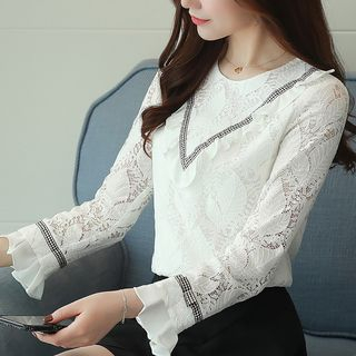 Ruffle Trim Lace Blouse from Ashlee