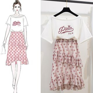 Set: Elbow-Sleeve Letter T-Shirt + Patterned A-Line Chiffon Skirt from Ashlee