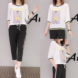 Set: Printed 3/4 Sleeve T-Shirt + Cropped Drawstring Pants from Ashlee
