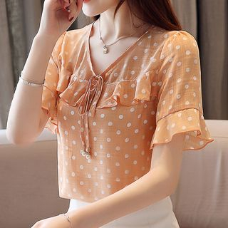 Short-Sleeve Frill Trim Polka Dot Chiffon Top from Ashlee