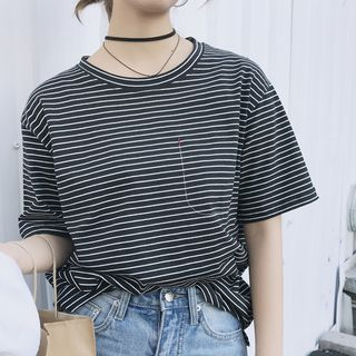Striped Elbow Sleeve T-Shirt from Ashlee