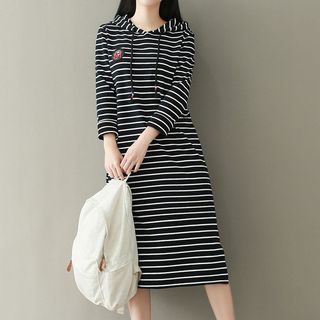 Striped Hooded Midi Dress from Ashlee
