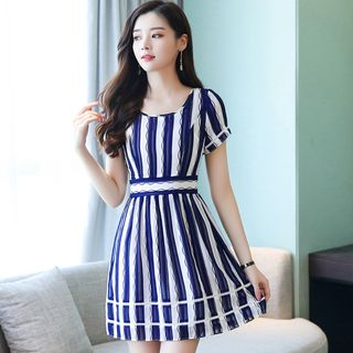 Striped Short-Sleeve A-Line Dress from Ashlee