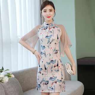 Traditional Chinese Elbow-Sleeve Printed Paneled Mini Dress from Ashlee