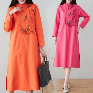 Traditional Chinese Long-Sleeve Embroidered Midi Dress from Ashlee