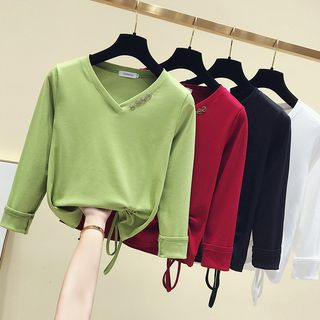 V-Neck Drawstring Long-Sleeve T-Shirt from Ashlee